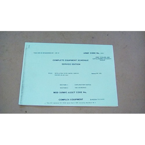 CES CATALOGUE SYSTEM CONTROL COMPUTER INSTALLATION  KIT